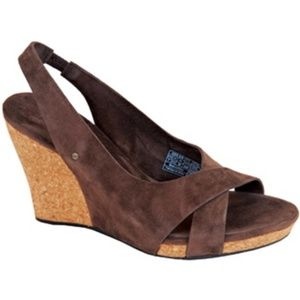 Ugg Sz 8 Brown Hazel slingback cork wedge sandals